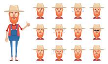 Set Of Old Farmer Emoticons. F...