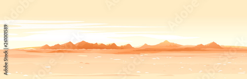Foto auf Gartenposter Beige Martian orange surface panorama landscape background on a sunny day, sand hills with stones on a deserted planet, landscape of Mars planet