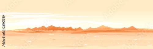 Türaufkleber Beige Martian orange surface panorama landscape background on a sunny day, sand hills with stones on a deserted planet, landscape of Mars planet