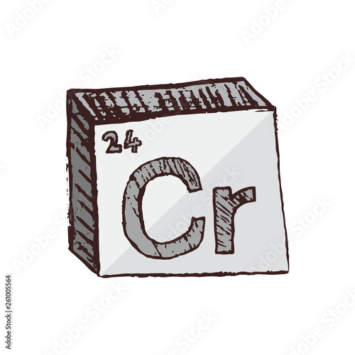 Fotografía  Vector three-dimensional hand drawn chemical gray silver symbol of chrome with an abbreviation Cr from the periodic table of the elements isolated on a white background