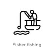outline fisher fishing vector icon. isolated black simple line element illustration from sports concept. editable vector stroke fisher fishing icon on white background