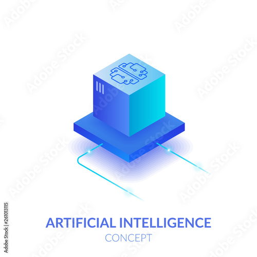 Concept of artificial intelligence. Machine mind in the form of a cube. Processing a large amount of data. The virtual reality. Wall mural