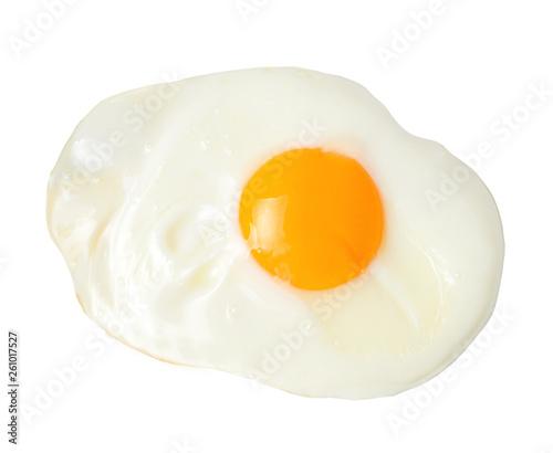 Foto op Aluminium Gebakken Eieren Fried appetizing egg on white isolated background. Close-up. View from above.