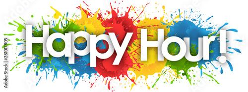 Fotografia happy hour word in splash's background
