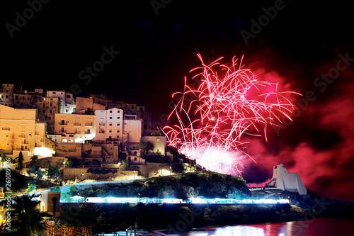 Poster Crimson Fireworks on Sperlonga city. Lazio. Italy
