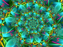 Abstract Cyan Flower Fractal S...