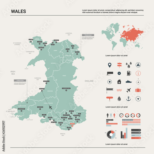 Vector map of Wales. High detailed country map with division, cities ...