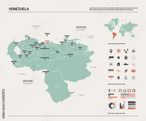 Fotografie, Tablou  Vector map of Venezuela