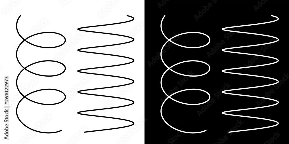 Fototapety, obrazy: Coil spring cable icons coil spring symbol on white background vector illustration