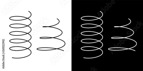 Coil spring cable icons coil spring symbol on white background vector illustrati Tapéta, Fotótapéta