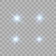 Set of blue beautiful stars.