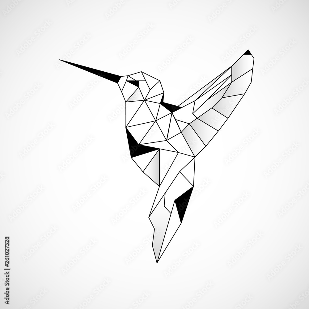 Abstract polygon hummingbird. Black geometric outline of a bird. Vector