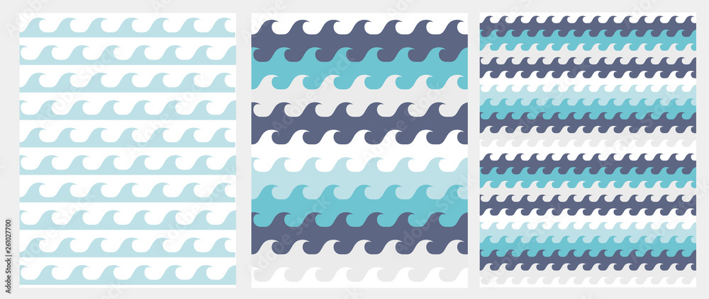 Cute Abstract Waves Seamless Vector Pattern. Blue Inftanile Style Waves Isolated on a White Background. Lovely Simple Marine Party Repeatable Design.