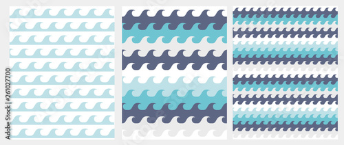 fototapeta na ścianę Cute Abstract Waves Seamless Vector Pattern. Blue Inftanile Style Waves Isolated on a White Background. Lovely Simple Marine Party Repeatable Design.
