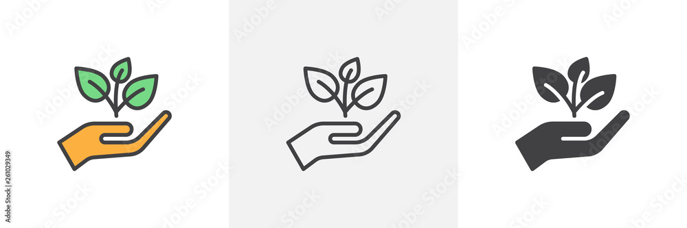 Fototapeta Plant, sprout in a hand icon. Line, glyph and filled outline colorful version, Hand holding plant outline and filled vector sign. Symbol, logo illustration. Different style icons set. Vector graphics