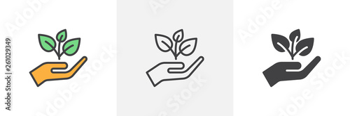 Obraz Plant, sprout in a hand icon. Line, glyph and filled outline colorful version, Hand holding plant outline and filled vector sign. Symbol, logo illustration. Different style icons set. Vector graphics - fototapety do salonu