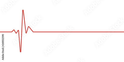 red heartbeat line icon Tablou Canvas