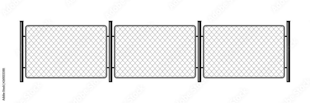 Fototapeta Prison barrier, secured property. The chain link of fence wire mesh steel metal. Rabitz.