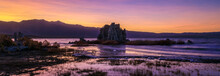 Purple And Pink Sunset Panorama At Mono Lake, Lee Vining, California