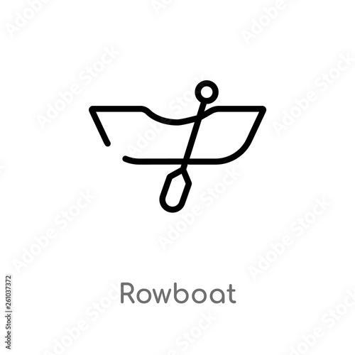 Stampa su Tela outline rowboat vector icon