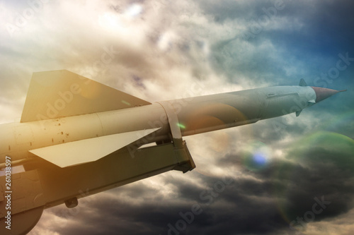 nuclear missile pointing up against the sky Canvas Print