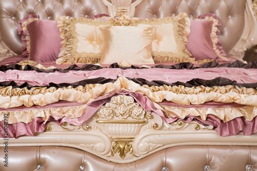 Obraz na plátně  Detail of luxury bed