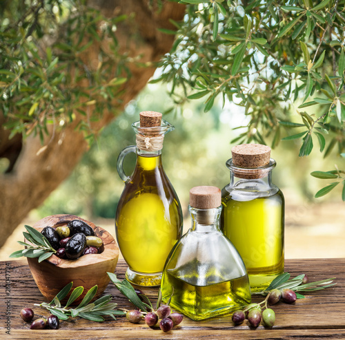 Olive oil and berries are on the wooden table under the olive tree Slika na platnu