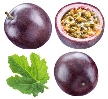 Set Of Passion Fruit, Its Cross Cut Section And Leaf. Clipping Path.