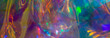 canvas print picture - multicolored  holographic iridescent surface wrinkled foil  pastel