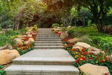Pathway Winding In Garden With Flowers
