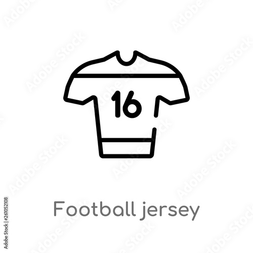 outline football jersey vector icon  isolated black simple