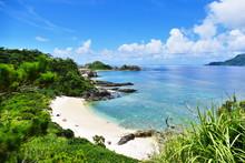 Tropical Paradise Of A Pristine White Beach, Greenery, Turquoise Sea And Deep Blue Sunny Sky At Zamami, Okinawa, Japan
