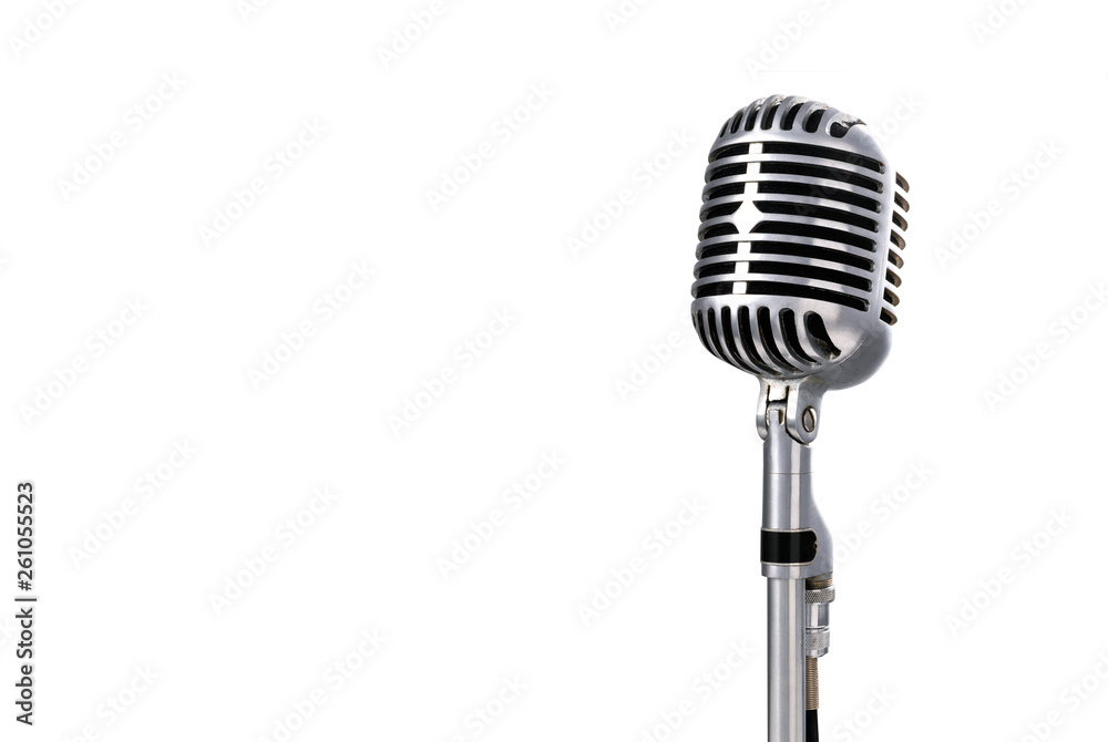 Fototapety, obrazy: Vintage microphone with copyright area
