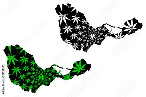 Ceuta - map is designed cannabis leaf green and black, Ceuta - Spanish autonomous city map made of marijuana (marihuana,THC) foliage,