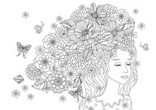 Beautiful Girl With Flowers In Hair For Your Coloring Page
