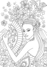 Beautiful Chinese Girl With Fan For Your Coloring Page