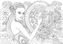 Beautiful Landscape With Chinese Girl For Your Coloring Page