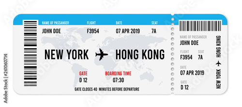 Fotomural  Realistic airline ticket design with passenger name