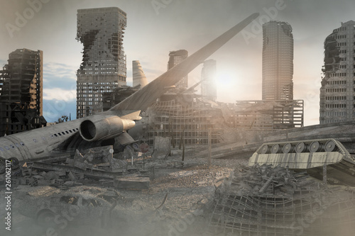 Obraz na plátně view of the destroyed post-apocalyptic city 3D render