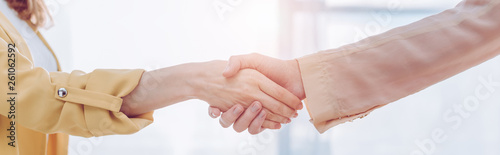 panoramic shot of employee and female recruiter shaking hands in office Canvas Print