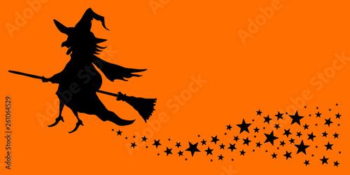 Halloween Fliegende Hexe Sterne Orange/Schwarz Fototapet