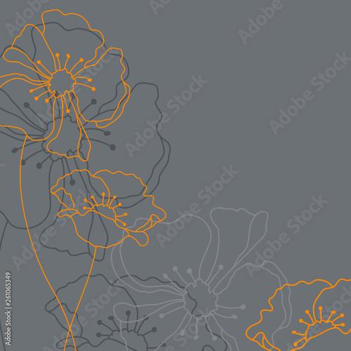 Fotografie, Obraz Trauerkarte Blumen Grau/Orange
