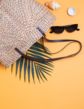 Creative Summer Composition On The Yellow Background.