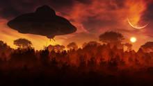 Concept Art Of Alien Space Craft Hovering Over Natural Landscape