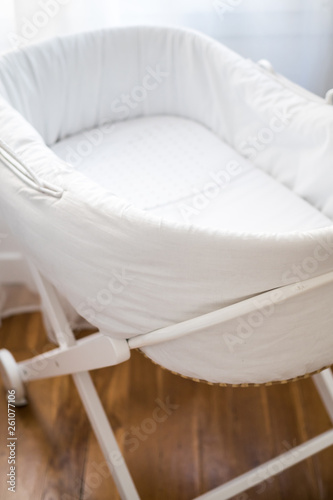 Close up elegant baby bassinet Canvas Print