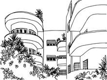 White City Tel Aviv, Romantic Urban Landscape, Bauhaus Style. Ink Line Sketch. Hand Drawing. Vector Illustration On White Background.