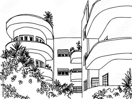 Tela  White city Tel Aviv, romantic urban landscape, bauhaus style