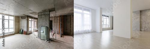 Obraz na płótnie renovation concept - apartment before and after restoration or refurbishment