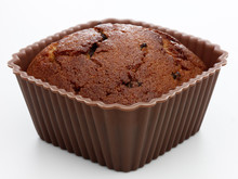 Choccolate Brown Muffin Dessert Or Cupcake On White