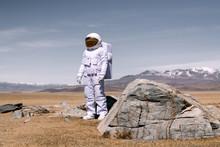 Man Wearing Astronaut Costume